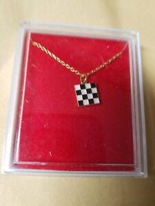 Ladies novelty square checkered flag Necklace