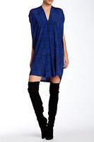 $395 NWT VINCE DOUBLE V-NECK PRINTED SILK COBALT-COASTAL DRESS sz XS