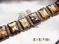 EARLIER VINTAGE JAPANESE SHAKUDO ( 赤銅 ) DAMASCENE ENAMEL PANEL BRACELET