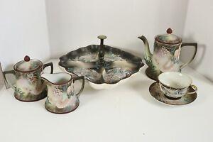 Nippon Hand Painted Moriage Dragon Tea Set Coffee Cream Sugar Divided Plate Bowl