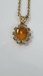 Vintage Yellow Metal Chain With Small White Stones & Larger Yellow Orange Stone
