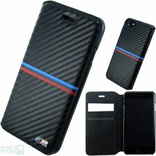 "BMW M Carbon look iPhone 7 4,7"" CELLULARE COVER BOOK CUSTODIA GUSCIO PROTETTIVO CUSTODIA BLACK"