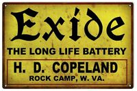 """Reproduction Exide the Long Life Battery H.D. Copeland Sign. 16"""" x 24"""""""
