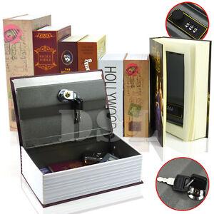 HomeSafe Real Book Safe Key Combination Metal Security Money Box 3 Size 7 Design
