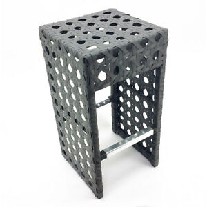 SET OF 2 WOVEN WICKER OUTDOOR BAR CHAIR - LUXURY GRAY WOVEN RATTAN BARSTOOL