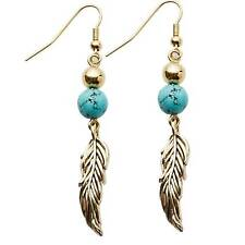 "Park Lane ""TICKLE"" EARRINGS Gold Feather w/ Genuine Turquoise  +  - Orig. $38"