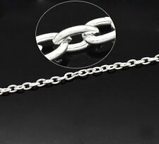 "Silver Plated Links-Opened Cable Chains 4x3mm(1/8""x1/8""), packet of 10M SP0284"