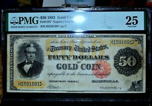 1822 $50 GOLD CERTIFICATE ✪ PMG VF-25 ✪ FR-1197 VERY FINE CHOICE L@@K ◢TRUSTED◣