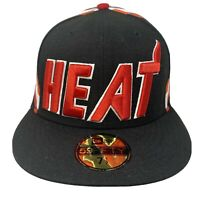 New Era MIAMI HEAT 59Fifty 5950 Red Black Fitted Hat Cap 7 1/2 NBA