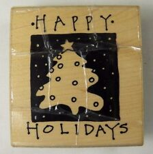 """Annette Watkins Rubber Stamp Happy Holidays Christmas Tree K1204 3 x 2.25"""" 1993"""