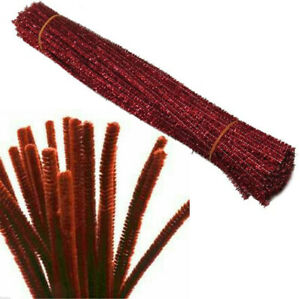 """Chenille Pipe Cleaners Brown Craft Stems Tinsel 30cm Pack Bristle Glitter Uk 12"""""""