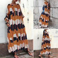 ZANZEA Women Long Sleeve Batwing Oversize Shirt Dress Kaftan Maxi Dress Plus