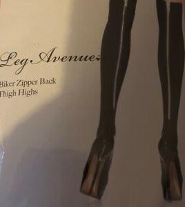Quality Stockings UK Made Leg Avenue Biker Actual Zipper Back Sexy