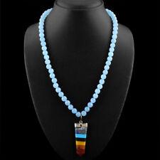 Edelsteinkette Schwarz Chalzedon (Chalcedony) 50cm Collier Halskette 08 mm Perle
