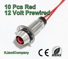 10 pcs 8mm RED 12V prewired LED pilot dash indicator lights US SELLER & Shipper