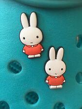2 Miffy el conejo de encantos del zapato Para Crocs Y Jibbitz Pulseras. Uk libre de envío.