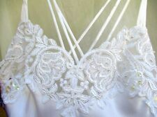 PRIVATE LUXERIES..WHITE..STRAPPY/SEXY..LONG..NIGHTGOWN..w LACE & BEADS..sz SMALL