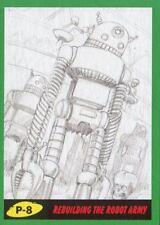 Mars Attacks The Revenge Green Pencil Art Base Card P-8 Rebuilding the Robot Ar