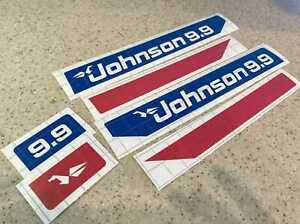 Johnson Vintage 9.9 HP Outboard Motor Decals Die-Cut FREE SHIP + FREE Fish Decal