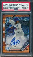 PSA 10/10 CRISTIAN SANTANA AUTO 2019 Bowman Chrome ORANGE Refractor /25 GEM MINT