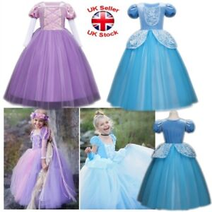 Princess Sofia Rapunzel Dress Fancy Costume Kids Cosplay Party Tulle Prom Gowns