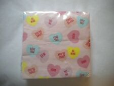 40 Wrapped Beverage Cocktail size napkins Valentine's Day Candy Hearts Heart