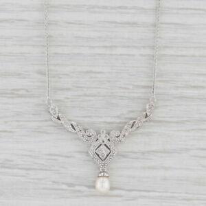 "Pearl Diamond Lariat Necklace 10k White Gold 16"" Wheat Chain"