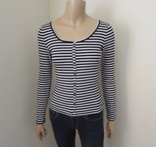 Hollister Womens Striped Top Size Small Shirt Black & White Stretchy