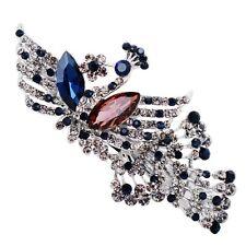 USA Barrette Clip using Swarovski Crystal Hairpin Vintage Peacock Blue Brown 2