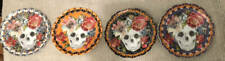 """222 Fifth MARBELLA Halloween Appetizer Plates 6 1/4"""" NEW Set of 4"""