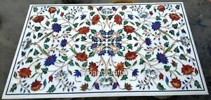 Rectangle Marble Inlay Table Top with Multi Gemstones Dining table 36 x 60 Inch