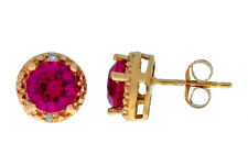 2 Ct Created Ruby & Diamond Round Stud Earrings 14Kt Rose Gold Plated