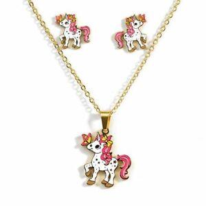 Unicorn Jewelry Set Girls Kids Necklace Earrings Horse Fashion Stainless Steel