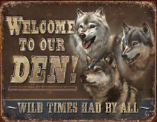 Welcome To Our Den Tin Metal Sign Wolf Wolves Animal Picture New Gift Cave Bar