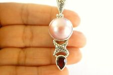 Pink Mabe Pearl Red Garnet Balinese 925 Sterling Silver Pendant