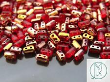 10g Czech Rulla Twin Beads Ruby Capri Gold