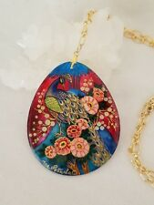 "Signed Peacock In Garden Mother Of Pearl Pendant On 20"" Gold Filled Link Chain"