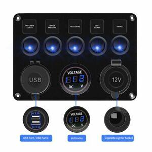 5 Gang Campervan RV 12/24V LED Light Switch Control Panel Voltmeter 2USB Charger