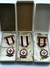 More details for 3 x vintage enamel british red cross society 3 years service medals - ww2 era kc