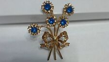 Vintage Blue Rhinestone Goldtone Art Decor Flower Boquet Brooch