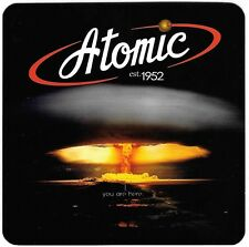 2 Atomic Liquors bar Cocktail Coaster Atom Bomb Fremont St Las Vegas Since 1952