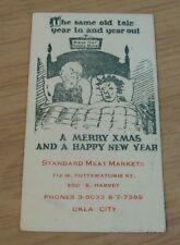 "VTG 1930's 'AD Business/COMIC Christmas Card'~""STANDARD MEAT MARKETS""~OKLA CITY~"