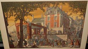 "T.M.CLELAND ""THEATRE"" LARGE VINTAGE COLOR OFFSET LITHOGRAPH DATED 1945"