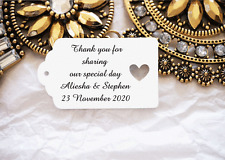 10 White Gift Tags Wedding Favour Bomboneire Personalised Thank you for sharing
