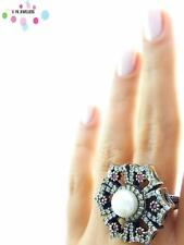 Turkish Ottoman 925 Sterling Silver Jewelry Authentic Ruby Ring Size 9 R2267