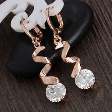 Awesome New 18K Rose Gold Filled Clear White CZ Curl Dangle Drop Hoop Earrings