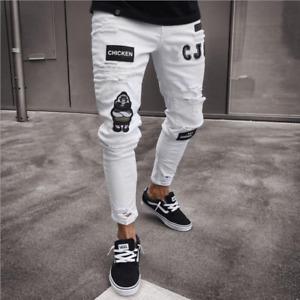 Mens Ripped Skinny Trousers Badge Decor Denim Jeans Hip Hop Punk Jegging Pants