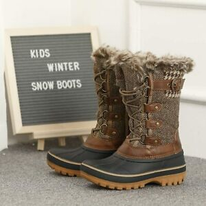 DREAM PAIRS Kids Insulated Waterproof Winter Snow Boots, Brown, Size 11.0 O0U1