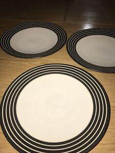 Denby Intro STRIPES BROWN / BLACK Side Plates X 3