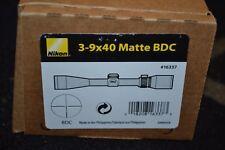 "Nikon 3-9x40mm Matte Black Rifle Scope BDC Reticle 1"" Tube NIB (16337)"